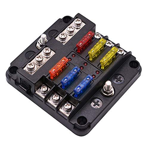 vosarea porte-fusible de 12 canaux, boîte de fusibles ato avec indicateur LED Boîtier protectrice résistant à l'eau pour Auto Bateau SUV Marine
