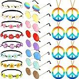 El Juego de Disfraz de Hippie de 24 Piezas Incluye Gafas Redondas de Hippie Collar de Signo de la Paz con Arco Iris Girasol Diademas para Fiesta de Festival