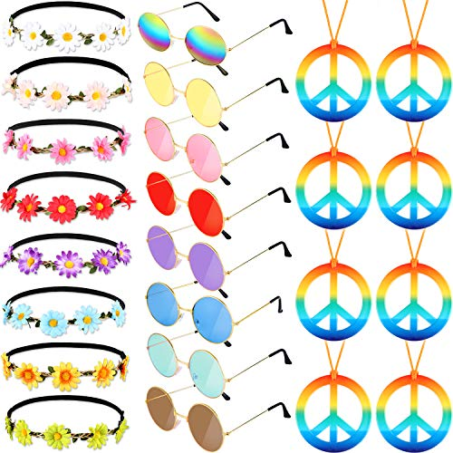 El Juego de Disfraz de Hippie de 24 Piezas Incluye Gafas