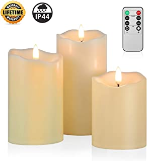 ANGELLOONG 2019 Upgraded Flickering Flameless Candles, Most Realistic Waterproof LED Candles with Remote and Timer, Set of 3 Battery Operated Pillar Candles for Kids Home Wedding Decoration