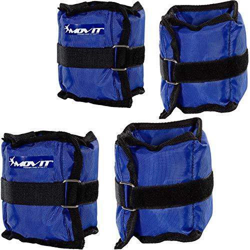 Movit Set di 4 Pesi da Polso o di Caviglie, Armatura, Pesi da 2X 0,5 kg e 2X 1 kg Polsini in Peso da Blu Colori/Peso Totale: 3 kg