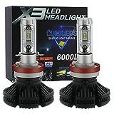 LEDヘッドライト H8/H11/H16 ZES2チップ 25Wx2 6000LmX2 3000k/6500K/8000K 変色可能 2個セット 保証1年 ZX3-H8