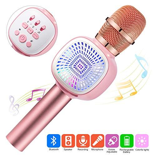 ERAY Micrófono Inalámbrico, Micrófono Karaoke Bluetooth, 4 en 1 con LED Luces, 4 Voces Ajustables, Soporta TF Tarjeta/USB Disco/ 3.5mm AUX Cable, Compatible con PC/iPad/Smartphone, Color Rosa