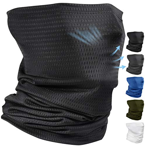 Comfortable Cooling Neck Gaiter Face Scarf Mask Covering Balaclava for Men Summer Sun Dust Protection Running Fishing Breathable Gator Neck Mask Headband Bandana Face Cover Black
