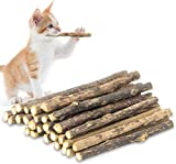 futureyun 24 piezas de juguetes de hierba gatera, orgánico natural de planta Matatabi Silver Vine Palo de masticar de dientes de gato para gato gatito