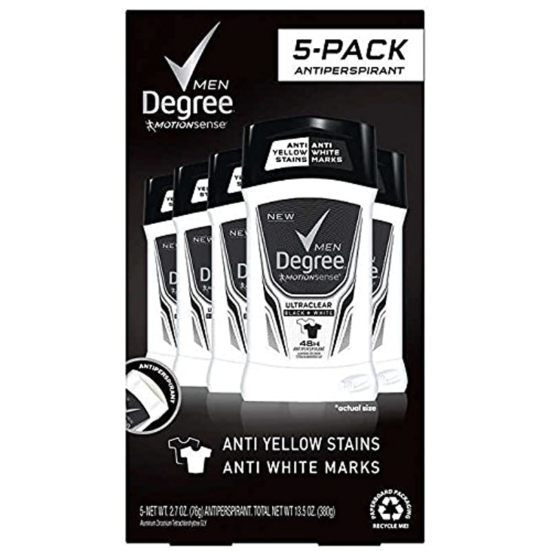 俳句盲目マウスピースDegree Men Ultra Clear Black + White Solid Deodorant 2.7oz (76g), 5-pack [並行輸入品]