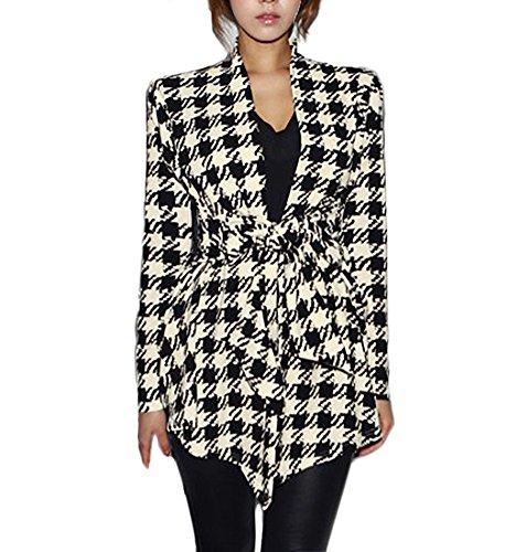 Cardigan Damen Vintage Elegante Hahnentritt Mantel Herbst Langarm Slim Classic Fit Irregular Fashion Office Business Blazer Jacke Outerwear Kleidung (Color : Schwarz, Size : L)