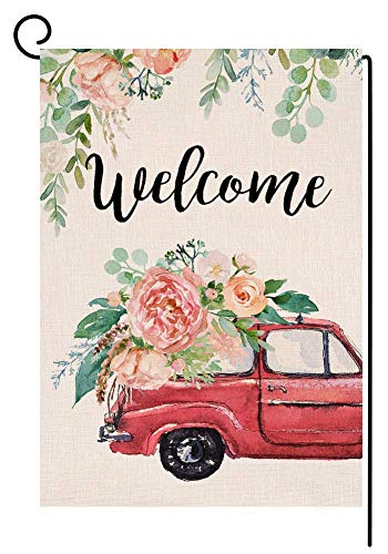 Welcome Spring Peony Flower Truck Bandera de jardín pequeña granja vertical doble cara arpillera patio decoración al aire libre 30,5 x 45,7 cm (15580)