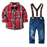 Vêtement Garçon 3-4 Ans Ensemble Enfant Ete Chemise et Pantalon et Noeud Papillon et Bretelle Tenue Fête Costume Rouge