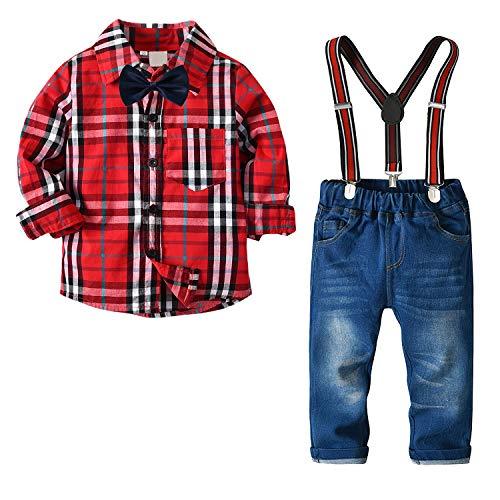 Ropa Niño Disfraz Bautizo Conjunto Verano Traje de Comunion Camisa y Pantalon y Corbata Completo Primavera Rojo 3-4 Años