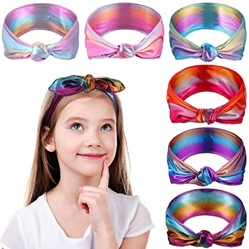 6 Pieces Girl's Knot Headband, Shiny Metallic Headbands Knotted Headbands Criss Cross Head Wraps Hair Band Elastic Twisted Turban Hair Accessories for Lovely Rainbow Birthday Party Favors