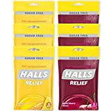 HALLS Relief Variety Pack Honey Lemon and Black Cherry Sugar Free Cough Drops, 6 Packs of 30 Drops (180 Total Drops)