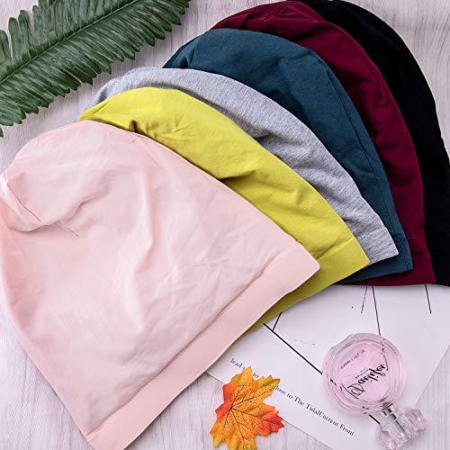 BQTQ 6 Pieces Satin Lined Sleep Caps Double-Layered Cotton Beanie Hats Night Cap for Women Men, 6 Colours