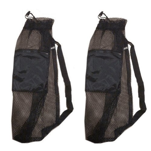 101SNORKEL 2 Pack Mesh Drawstring Snorkel Bag with Black Zip Pocket