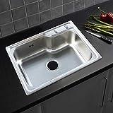 Évier encastrable en acier inoxydable de qualité supérieure, évier de cuisine encastrable carré avec robinetterie d'évier et accessoires