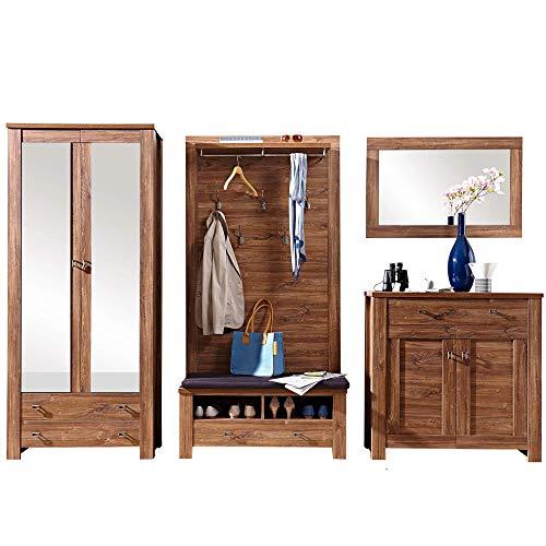 BRÜSSEL Garderoben Set in dunkler Akazie Optik - rustikale Softclose Flurgarderobe für Ihren Eingangsbereich - 310 x 200 x 40cm (B/H/T)