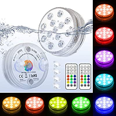 WHATOOK Submersible Led Lights with Remote - Waterproof Underwater Led Light Battery Operated Controlled 16 Color Changing Lamp with 4pcs Suction Cup for Pool Vase Aquarium Decoration 2 Pack