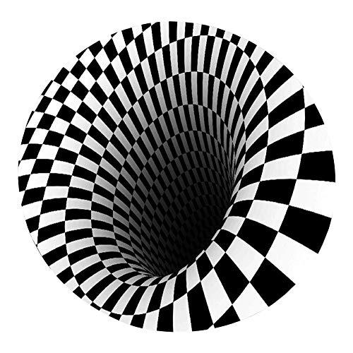 seraphicar - Tappeto visivo 3D, creativo, rotondo, effetto illusione 3D, in flanella, morbido, antiscivolo, per soggiorno, tavolino da salotto