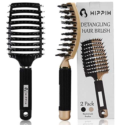 Boar Hair Brushes 2 Pack, Suitable for Men, Women & Kids' Long Curly Wet or Dry Hair, HIPPIH Hairbrush for Thick Hair Can Adds Shine and Makes Hair Smooth