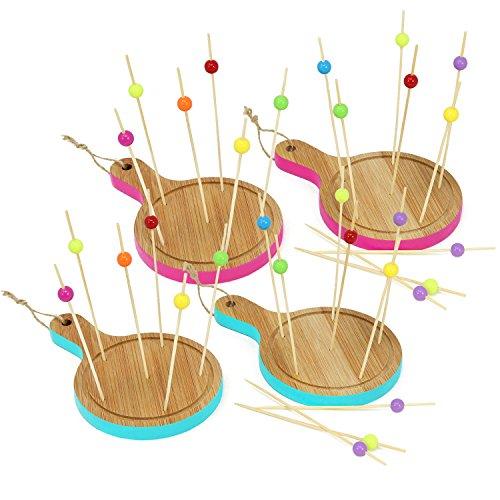 com-four® 34-teiliges Tapas Set aus Holz, Servierbretter und Holzspieße für Snacks, Fingerfood, Anti-pasti, Tapas, Käse, Obst und mehr (34-teilig - Rund pink/blau)