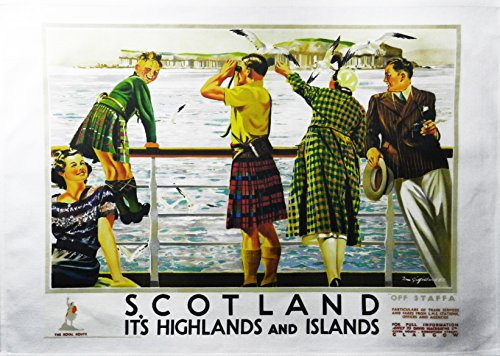 Half a Donkey Scotland Highlands and Islands- Retro Style Travel Poster Large Cotton Tea Towel