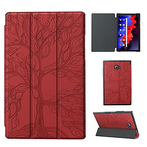 Keikail Funda Compatible con Samsung Galaxy Tab A 10.1 2016 SM T580/ T585 , Slim Folio Carcasa Protectora con Función de Soporte y Auto-Reposo/Activación, con Adorno de Árbol , Rojo