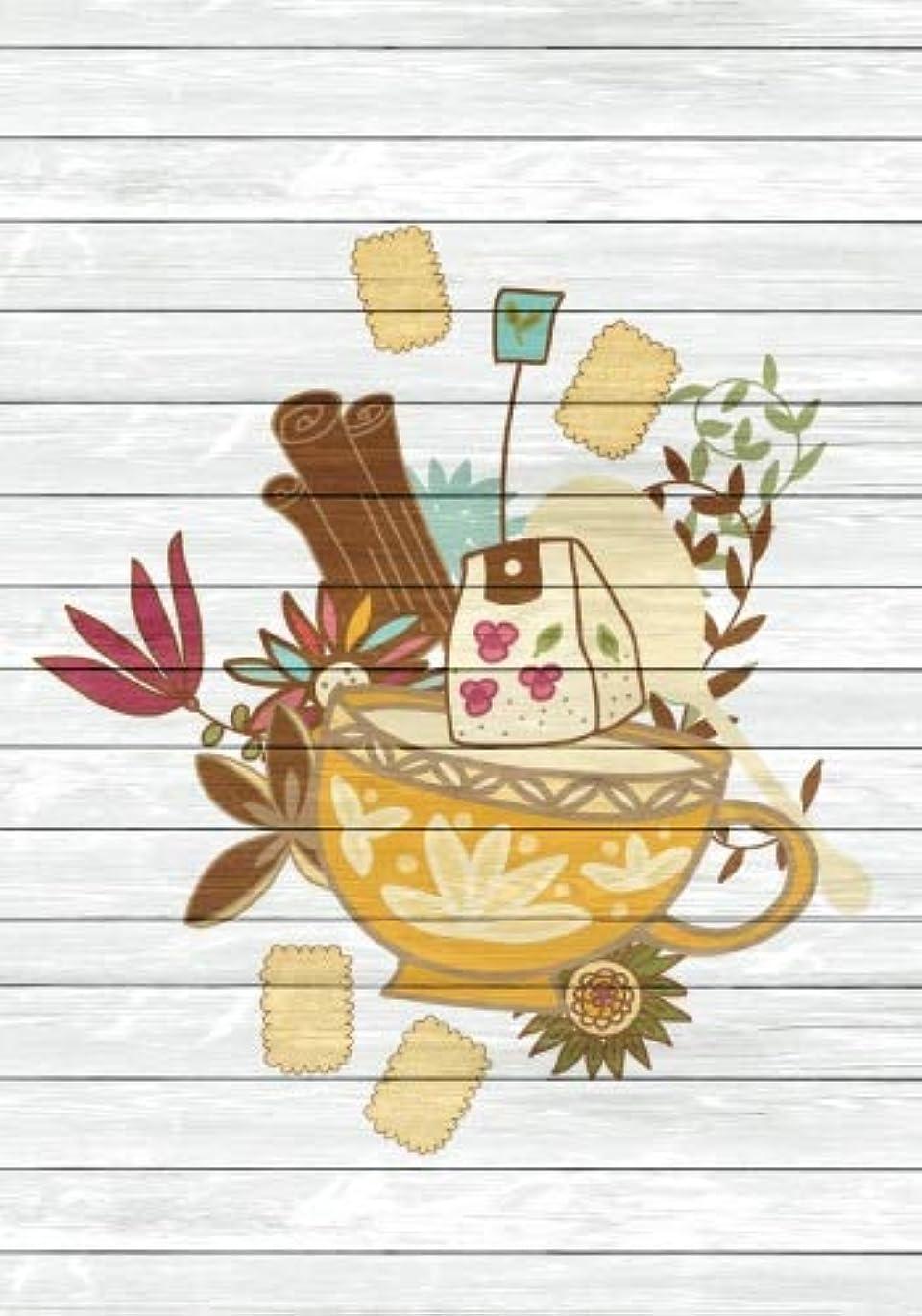 延ばすドライブ修理工Tea Time Creative Journal 3: (7 x 10)(Dot Grid) Blank Journal Notebook Organizer Planner Sketchbook Gratitude Diary Tea Cup Lover Flowers Spices Strainer Fruit Whimsical