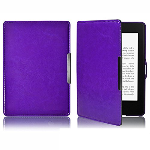 Gosear PU Cuero Ebook Reader Protector Funda para Amazon Kindle Paperwhite 1 2 3 Morada