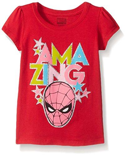 Marvel Little Girls Toddler Thor, Captain America or Spiderman T-Shirt, Spiderman Red, 5T