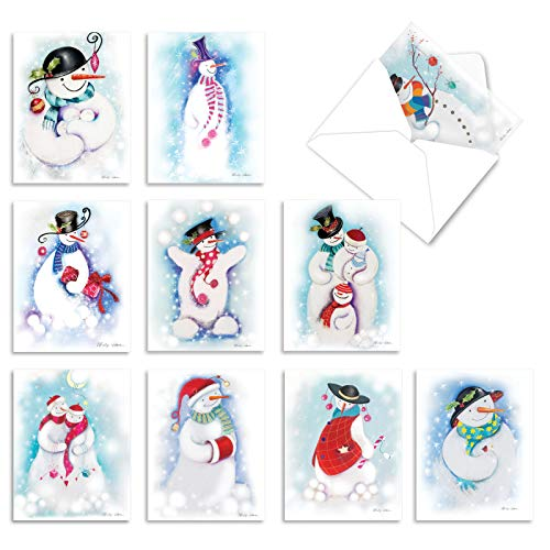 The Best Card Company - 10 Snowman Christmas Cards Blank - Bulk Box of Notecards with Envelopes, Assortment (4 x 5.12 Inch) - Festive Snowmen M10004XB