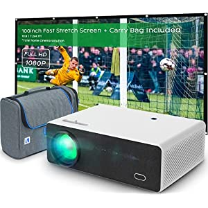 VIVIBRIGHT 1080P Full HD Projector D5000, 8000 LED Brightness, 300'' Max Display, Built-in 10W Speaker, 4K Support Home Theater&Outdoor Video Projectors, Movie&Game Projector for Switch/Laptop/PS5