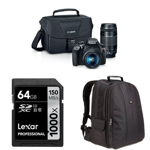 Canon EOS Rebel T6 Digital SLR Camera Kit with EF-S 18-55mm and EF 75-300mm Lenses + AmazonBasics DSLR Bag and 64 GB Lexar Memory Card