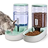 Automatic Dog Cat Feeder and Water Dispenser Gravity Food Feeder and Waterer Set for Small Medium Dog Puppy Kitten, Large Capacity 1 Gallon x 2