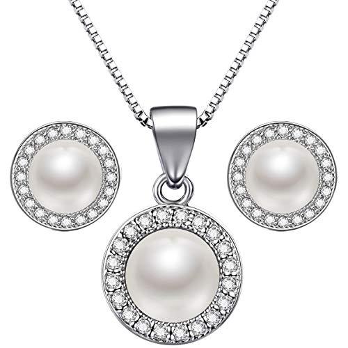 Lydreewam Juego de collar y pendientes de perlas de plata de ley 925 para mujer + caja de regalo azul