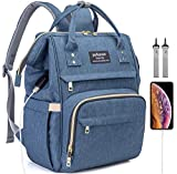 Diaper Bag Backpack, Waterproof Large Space Capacity Organizer Travel Portable For Newborn Girl Boy Girls Boys Kids Babies Toddlers Phone Usb Charging Port Toy Accessory Stuff Insulated Pocket Diaper