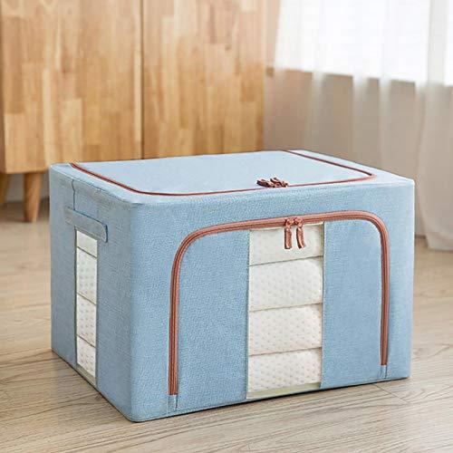 bolsa de almacenamiento plegable, bolsa de almacenamiento plegable con cremallera resistente, organizador de bolsa de ropa de gran capacidad, ropa de cama, ventana transparente 22L Lightblue