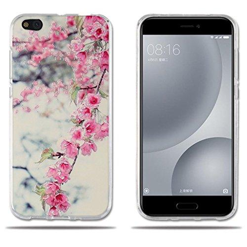 FUBAODA für Xiaomi Mi 5c Mi5c Hülle, [Peach Blossom] Transparent Silikon Clear TPU FashionAnti-Scratch Slim Fit Shockproof Flexible Design für Xiaomi Mi 5c Mi5c