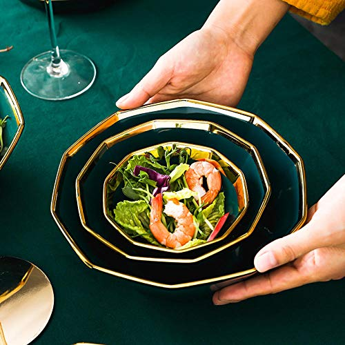 Nordic Home Set Vajilla de cerámica Simple Tinta Verde Vajilla Tazón Japonés Vajilla Regalo - 4.5 pulgadas - oro de lujo