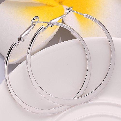 Xiaodou Flat Big Hoop Earrings for Women Girls Silver 14k Gold Rose Gold Large Basketball Huggie Hoops for Sensitive Ears (White)