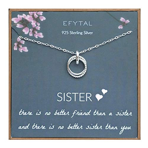 EFYTAL Sister Gift from Sister, 925 Sterling Silver Interlocking Circles Necklace, Sister Birthday Gift, Big Sister Gifts Necklaces for Sisters Jewelry
