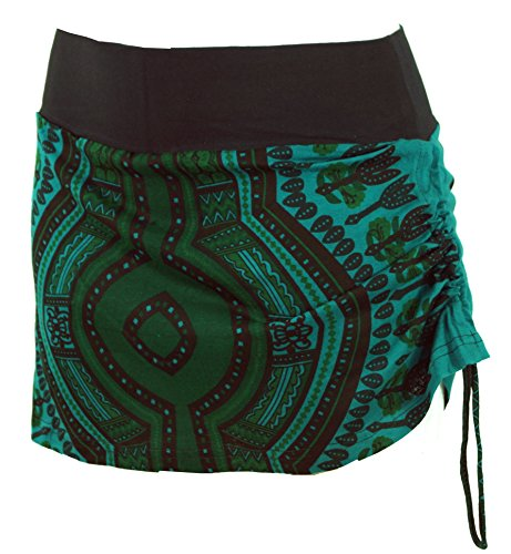 Guru-Shop Minirock, Dashiki Yogarock, Damen, Petrol, Baumwolle, Size:36, Röcke/Kurz Alternative Bekleidung