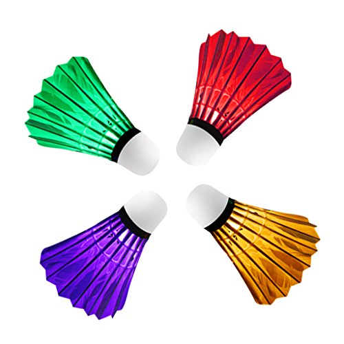 perfk 4 Stück Bunte LED Badminton Ball Set Leuchtende Federbälle