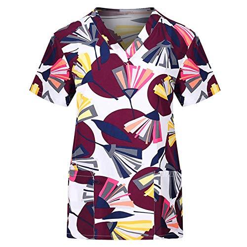 Bluse Top Frauen Kurzarm T-Shirts mit V-Ausschnitt und Taschen Arbeitskleidung (L,1Wein)