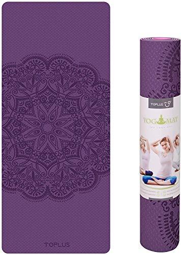 Toplus - Esterilla de yoga de alta calidad con impresión de TPE de 1/4 pulgadas, respetuosa con el medio ambiente, antideslizante, con correa de transporte, para yoga, pilates y ejercicios de suelo