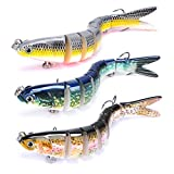 Yampahpa Bass Fishing Lures Topwater Bass Lures Multi Jointed Swimbaits Lifelike Hard Bait Bionic for Trout Perch Walleye Freshwater Saltwater Fishing Gifts for Men