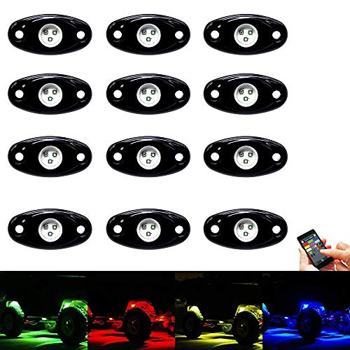 RGB Led Rock Lights Kit 12 Pods Led Rock Light Bluetooth Control 15 DIY Color Timing Music Flashing Interior Neon Lights for Offroad Je-ep Trucks UTV SUV ATV Motorcycle (12pods)