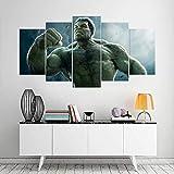 VKEXVDR 5 Paneles Pintura de la Lona Mural Superhéroes de Hulk Arte Fotos Paisaje Imprimir Decoración Moderna del Ministerio del Interior Sin Marco 200 * 100cm