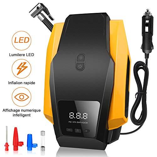 mixigoo Luftkompressor, Auto Kompressor 12V 150PSI Tragbarer Elektrischer Luftkompressor mit LED-Lichter Digital Kompressor Reifenpumpe für Motorräder Basketball und andere schlauchboote