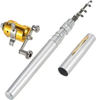 LIXIANGNAN Mini Portable Pocket Fish Rod Pen Aluminum Alloy Fishing Rod Pole Reel Combos