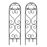 Hosley Set of 2 Scroll Planter Trellis 27 Inch High. Ideal Gift for Wedding or Party and Use Next to Structures Home or Office or in Planters for Growing Floral Plants Vines and Vegetables O4